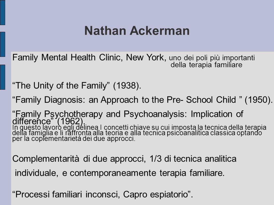 Nathan Ackerman Family Mental Health Clinic, New York, uno dei poli più importanti della terapia familiare The Unity of the Family (1938).