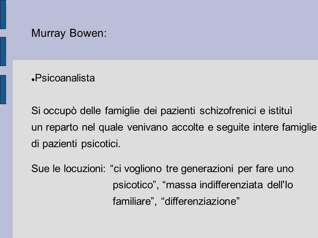 Murray Bowen: Psicoanalista Si occupò delle famiglie dei pazienti schizofrenici e istituì un reparto nel quale venivano accolte e seguite intere famiglie di pazienti psicotici.