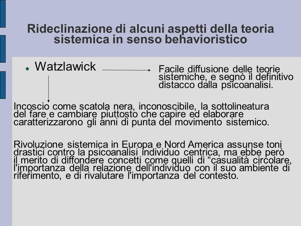 Rideclinazione di alcuni aspetti della teoria sistemica in senso behavioristico Watzlawick Facile diffusione delle teorie sistemiche, e segnò il definitivo distacco dalla psicoanalisi.
