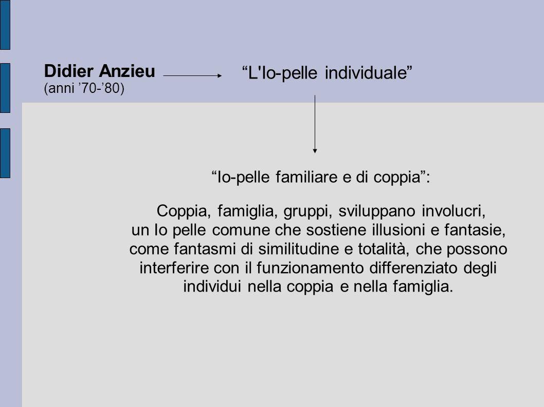 Didier Anzieu (anni 70-80) L Io-pelle individuale Io-pelle familiare e di coppia: Coppia, famiglia, gruppi, sviluppano involucri, un Io pelle comune che sostiene illusioni e fantasie, come fantasmi di similitudine e totalità, che possono interferire con il funzionamento differenziato degli individui nella coppia e nella famiglia.