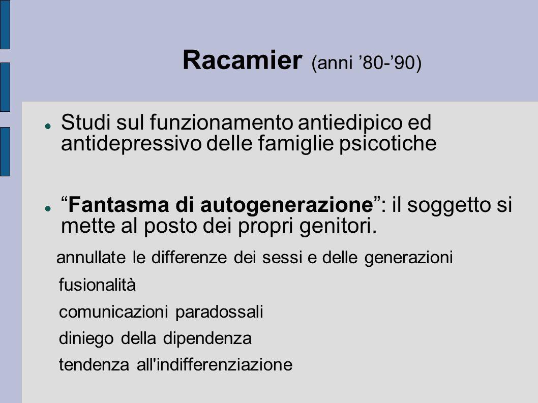 Racamier (anni 80-90) Studi sul funzionamento antiedipico ed antidepressivo delle famiglie psicotiche Fantasma di autogenerazione: il soggetto si mette al posto dei propri genitori.