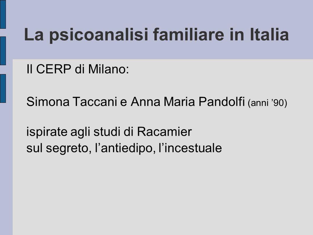 La psicoanalisi familiare in Italia Il CERP di Milano: Simona Taccani e Anna Maria Pandolfi (anni 90) ispirate agli studi di Racamier sul segreto, lantiedipo, lincestuale
