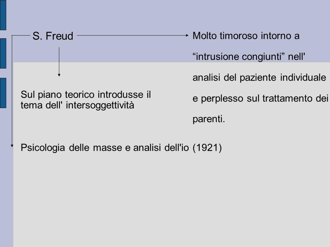 S. Freud Molto timoroso intorno a intrusione congiunti nell' analisi del paziente individuale e perplesso sul trattamento dei parenti. Sul piano teori