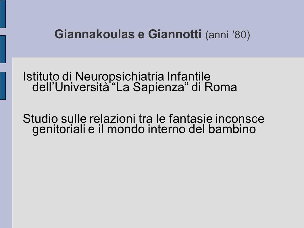 Giannakoulas e Giannotti (anni 80) Istituto di Neuropsichiatria Infantile dellUniversità La Sapienza di Roma Studio sulle relazioni tra le fantasie inconsce genitoriali e il mondo interno del bambino