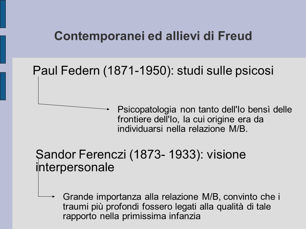 Contemporanei ed allievi di Freud Paul Federn (1871-1950): studi sulle psicosi Psicopatologia non tanto dell Io bensì delle frontiere dell Io, la cui origine era da individuarsi nella relazione M/B.