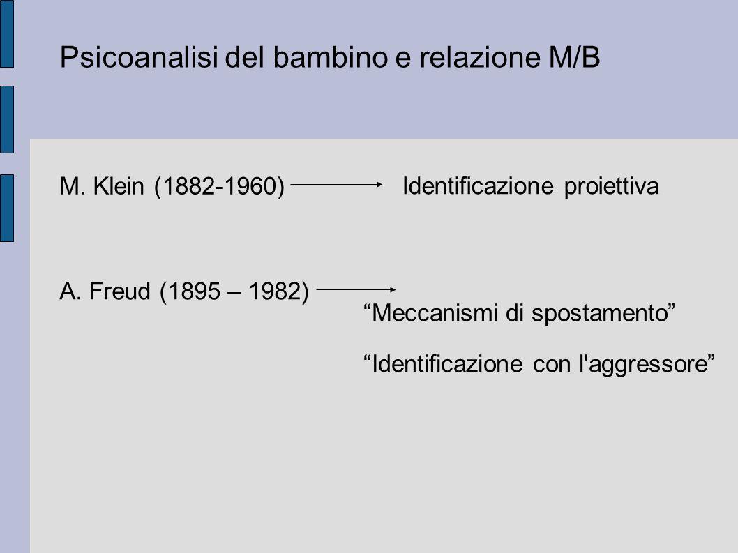 Psicoanalisi del bambino e relazione M/B M.Klein (1882-1960) Identificazione proiettiva A.