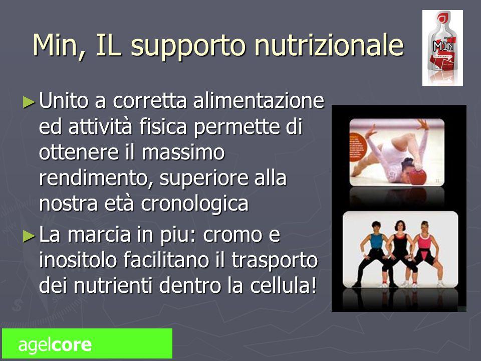 Min, IL supporto nutrizionale Unito a corretta alimentazione ed attività fisica permette di ottenere il massimo rendimento, superiore alla nostra età