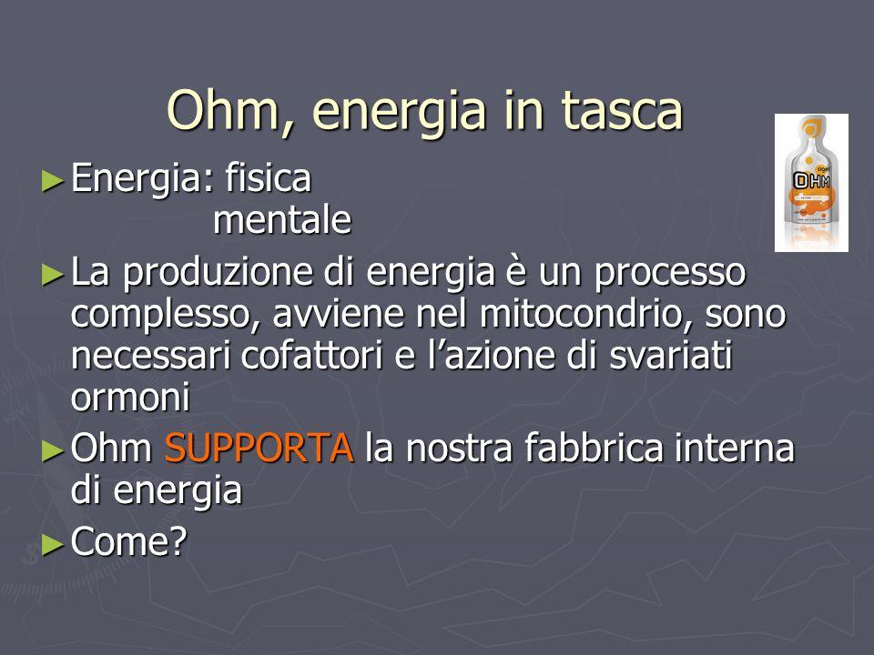 Ohm, energia in tasca Energia: fisica mentale Energia: fisica mentale La produzione di energia è un processo complesso, avviene nel mitocondrio, sono