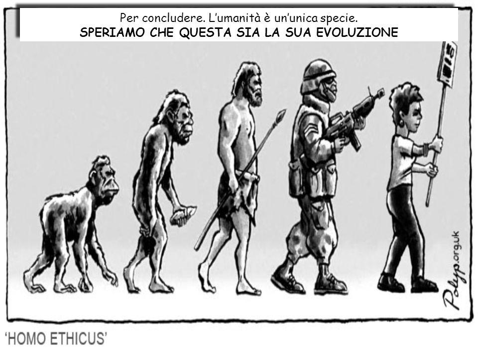 Per concludere. Lumanità è ununica specie. SPERIAMO CHE QUESTA SIA LA SUA EVOLUZIONE Per concludere. Lumanità è ununica specie. SPERIAMO CHE QUESTA SI