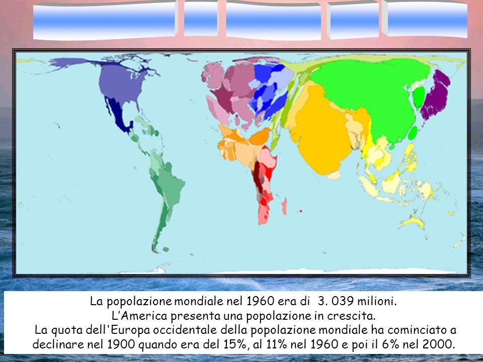 La popolazione mondiale nel 1960 era di 3. 039 milioni. LAmerica presenta una popolazione in crescita. La quota dell'Europa occidentale della popolazi