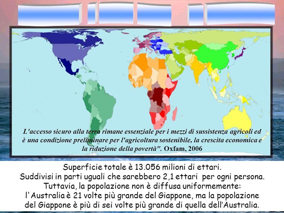 Superficie totale è 13.056 milioni di ettari. Suddivisi in parti uguali che sarebbero 2,1 ettari per ogni persona. Tuttavia, la popolazione non è diff