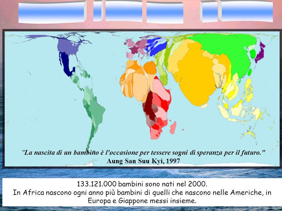 133.121.000 bambini sono nati nel 2000. In Africa nascono ogni anno più bambini di quelli che nascono nelle Americhe, in Europa e Giappone messi insie