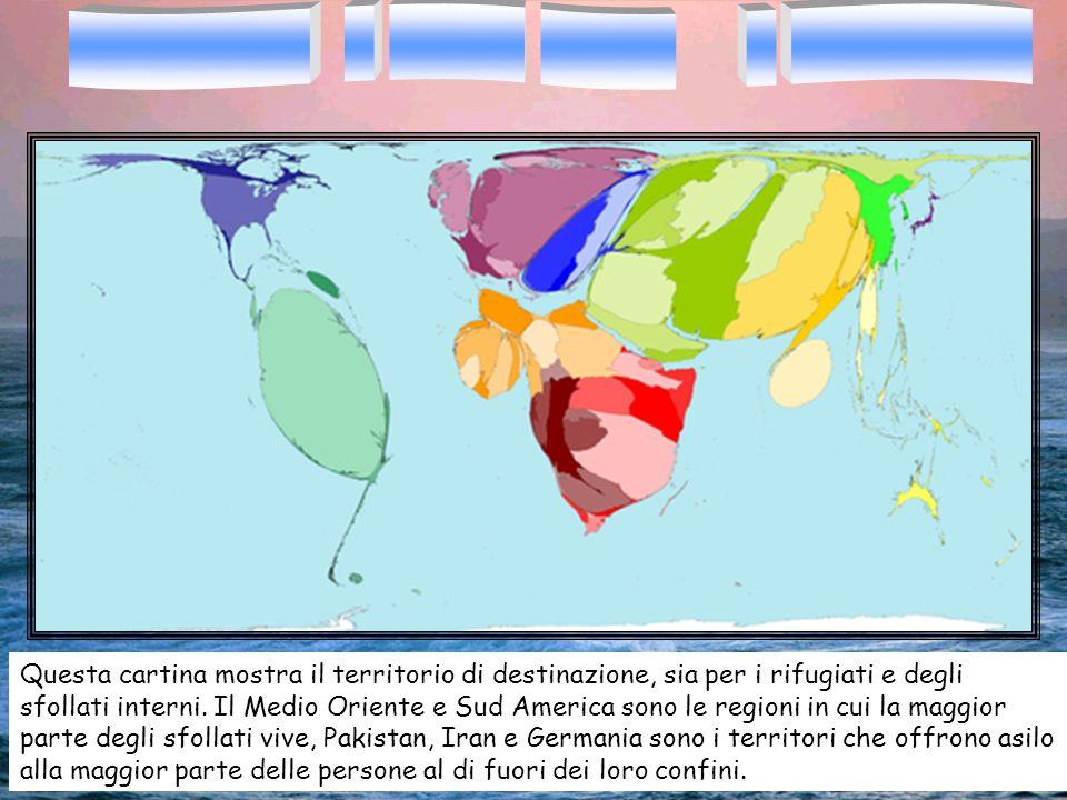Questa cartina mostra il territorio di destinazione, sia per i rifugiati e degli sfollati interni. Il Medio Oriente e Sud America sono le regioni in c