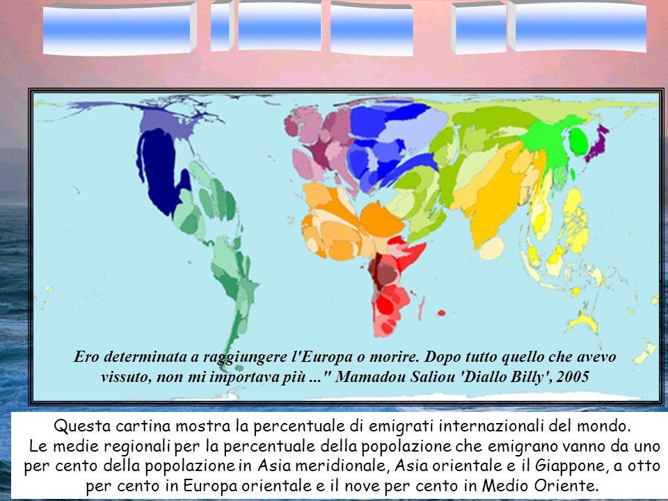 Questa cartina mostra la percentuale di emigrati internazionali del mondo. Le medie regionali per la percentuale della popolazione che emigrano vanno