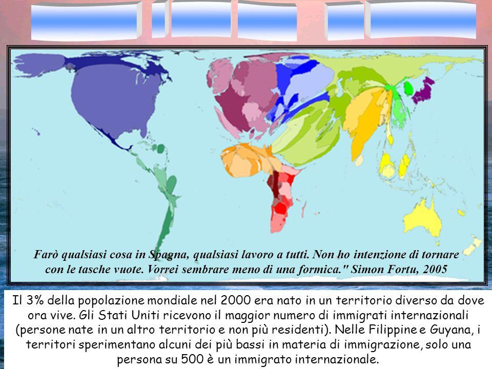 Il 3% della popolazione mondiale nel 2000 era nato in un territorio diverso da dove ora vive. Gli Stati Uniti ricevono il maggior numero di immigrati