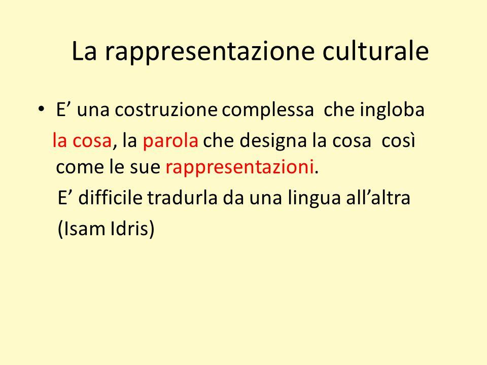 La rappresentazione culturale E una costruzione complessa che ingloba la cosa, la parola che designa la cosa così come le sue rappresentazioni.