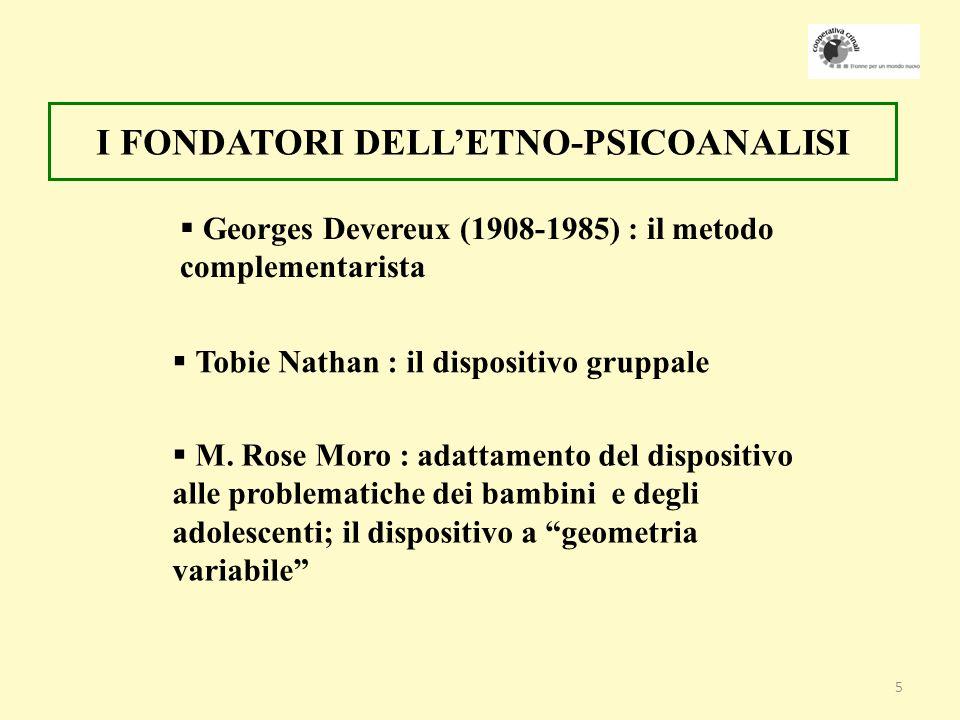 5 Georges Devereux (1908-1985) : il metodo complementarista I FONDATORI DELLETNO-PSICOANALISI Tobie Nathan : il dispositivo gruppale M.