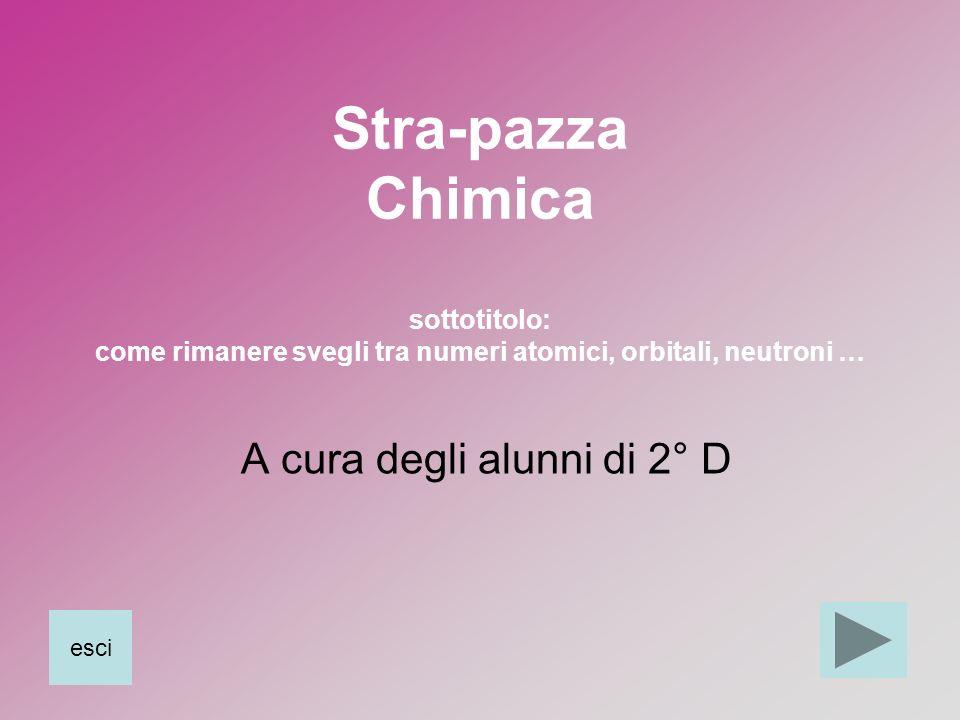 Stra-pazza Chimica sottotitolo: come rimanere svegli tra numeri atomici, orbitali, neutroni … A cura degli alunni di 2° D esci
