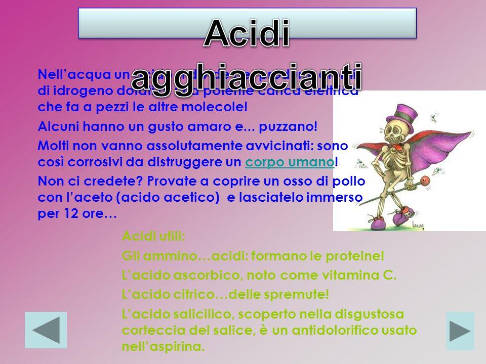 Nellacqua un acido si divide per produrre atomi di idrogeno dotati di una potente carica elettrica che fa a pezzi le altre molecole.