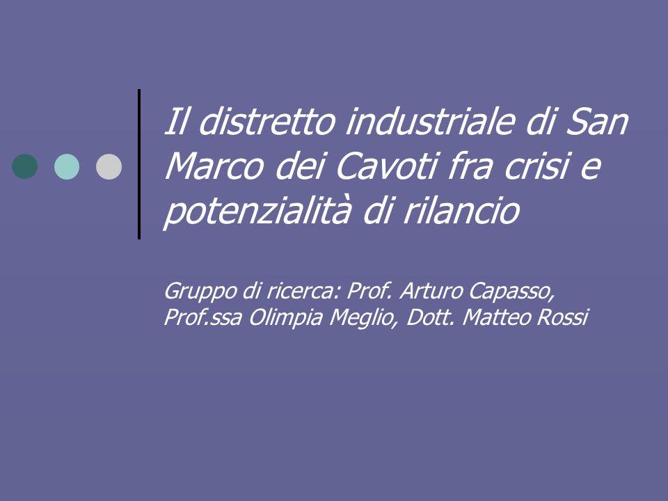 Il distretto industriale di San Marco dei Cavoti fra crisi e potenzialità di rilancio Gruppo di ricerca: Prof.