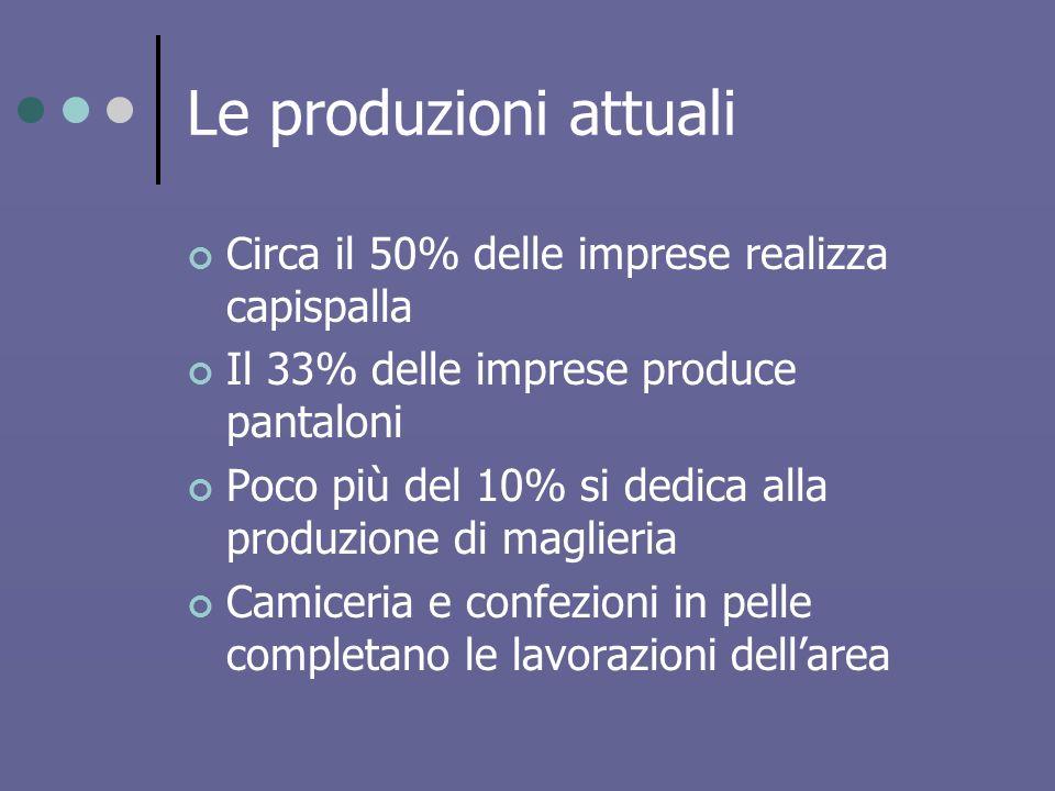 Le produzioni attuali Circa il 50% delle imprese realizza capispalla Il 33% delle imprese produce pantaloni Poco più del 10% si dedica alla produzione di maglieria Camiceria e confezioni in pelle completano le lavorazioni dellarea
