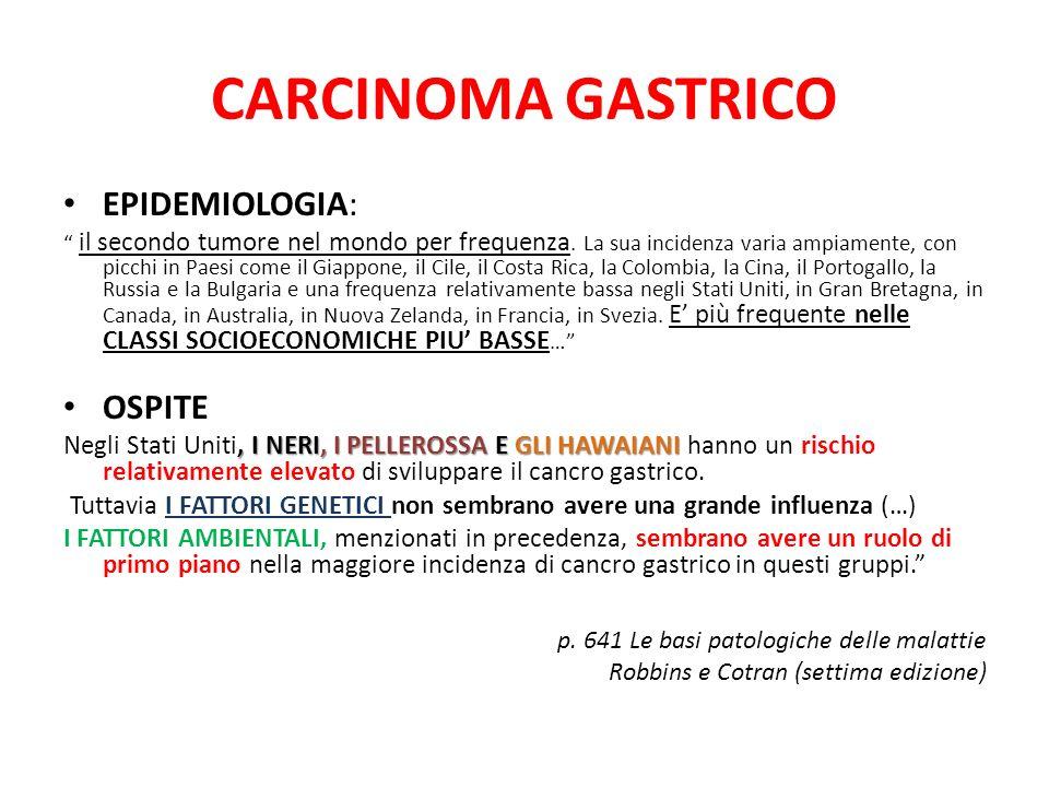 CARCINOMA GASTRICO EPIDEMIOLOGIA: il secondo tumore nel mondo per frequenza. La sua incidenza varia ampiamente, con picchi in Paesi come il Giappone,