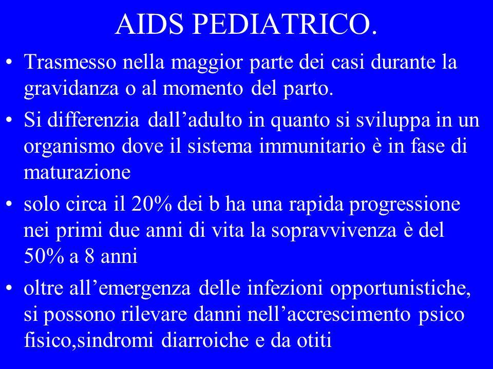 AIDS PEDIATRICO 1 MILIONE DI BAMBINI SONO CONTAGIATI IL 90% HA CONTRATTO LINFEZIONE DALLA MADRE 1600 /DIE CONTRAGGONO LINFEZIONE (600.000 ANNO) (maggior parte Africa subsahariana, sud est asiatico ) IL 43% DELLE PERSONE SIEROPOSITIVE E DONNA