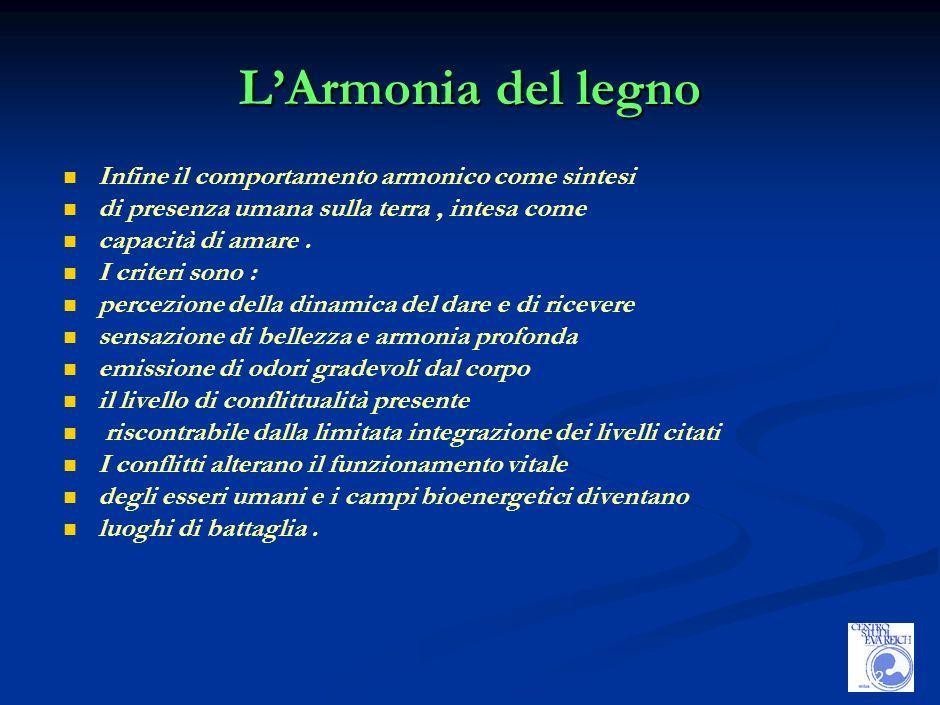 12 LArmonia del legno Infine il comportamento armonico come sintesi di presenza umana sulla terra, intesa come capacità di amare.