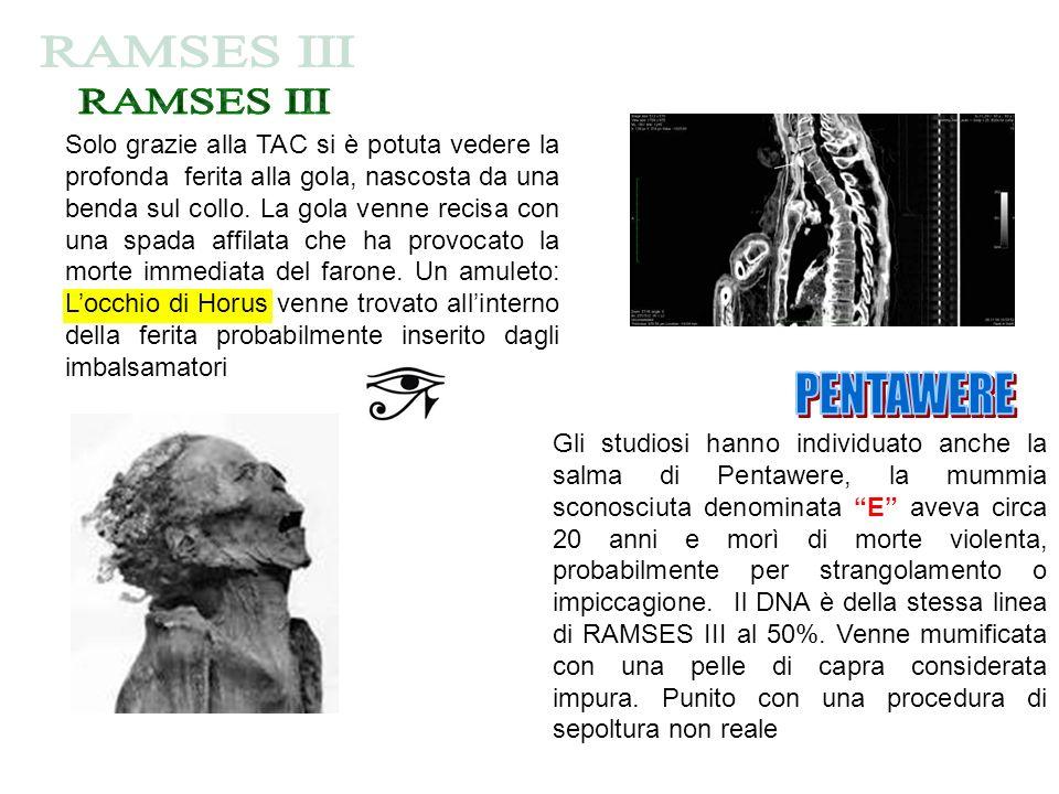 Gli studiosi hanno individuato anche la salma di Pentawere, la mummia sconosciuta denominata E aveva circa 20 anni e morì di morte violenta, probabilm