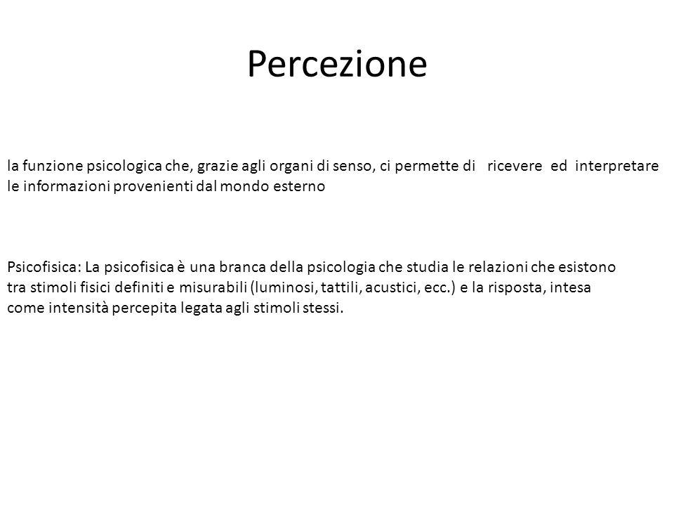 Percezione la funzione psicologica che, grazie agli organi di senso, ci permette di ricevere ed interpretare le informazioni provenienti dal mondo est