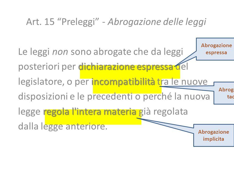 Art. 15 Preleggi - Abrogazione delle leggi Le leggi non sono abrogate che da leggi dichiarazione espressa posteriori per dichiarazione espressa del in