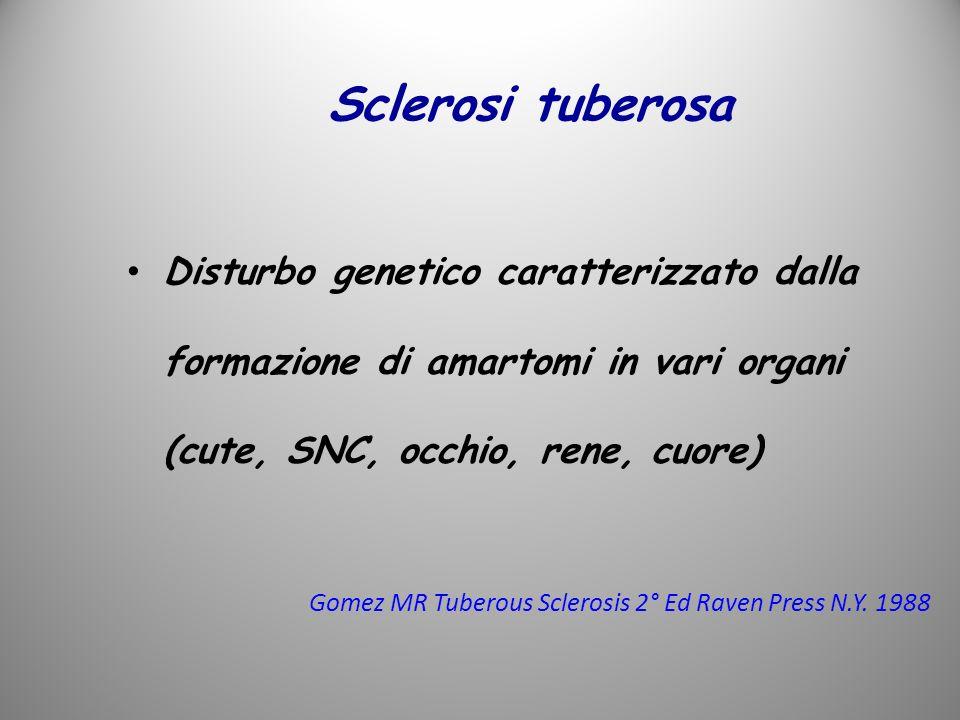 Sclerosi tuberosa Disturbo genetico caratterizzato dalla formazione di amartomi in vari organi (cute, SNC, occhio, rene, cuore) Gomez MR Tuberous Scle