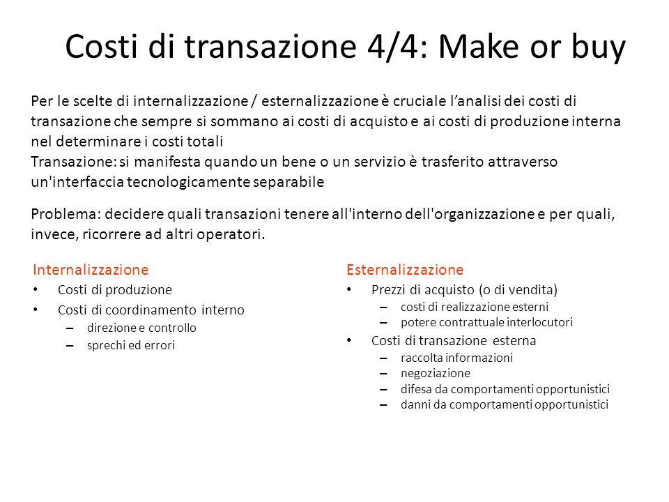 Internalizzazione Costi di produzione Costi di coordinamento interno – direzione e controllo – sprechi ed errori Esternalizzazione Prezzi di acquisto