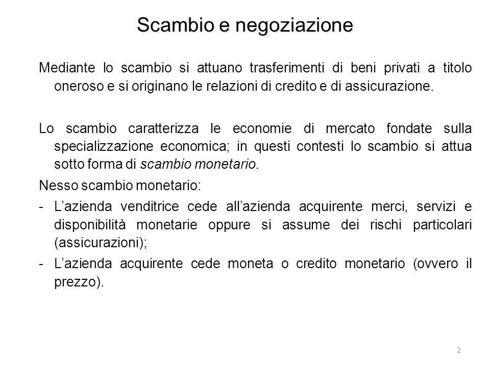 2 Mediante lo scambio si attuano trasferimenti di beni privati a titolo oneroso e si originano le relazioni di credito e di assicurazione. Lo scambio