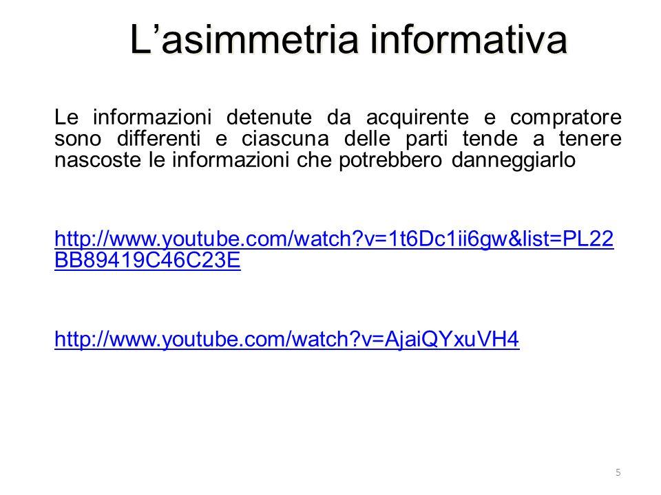 5 Lasimmetria informativa Le informazioni detenute da acquirente e compratore sono differenti e ciascuna delle parti tende a tenere nascoste le inform