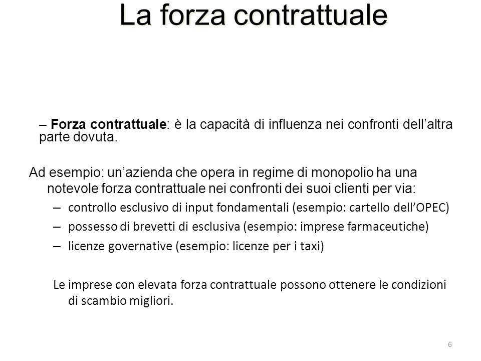 6 La forza contrattuale – Forza contrattuale: è la capacità di influenza nei confronti dellaltra parte dovuta. Ad esempio: unazienda che opera in regi