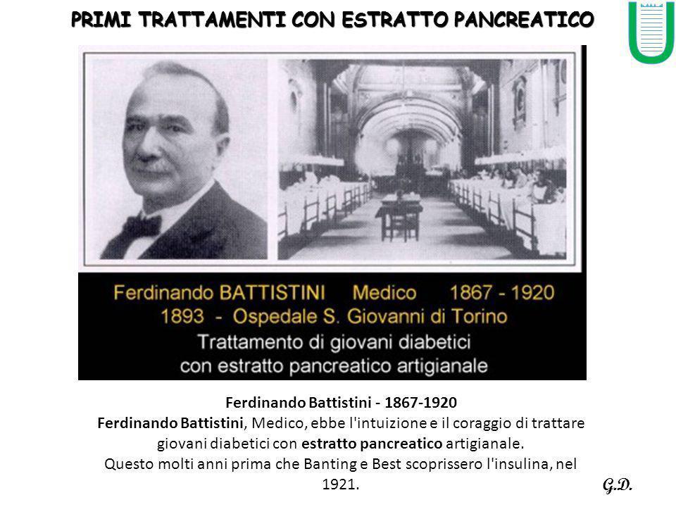 PRIMI TRATTAMENTI CON ESTRATTO PANCREATICO Ferdinando Battistini - 1867-1920 Ferdinando Battistini, Medico, ebbe l intuizione e il coraggio di trattare giovani diabetici con estratto pancreatico artigianale.