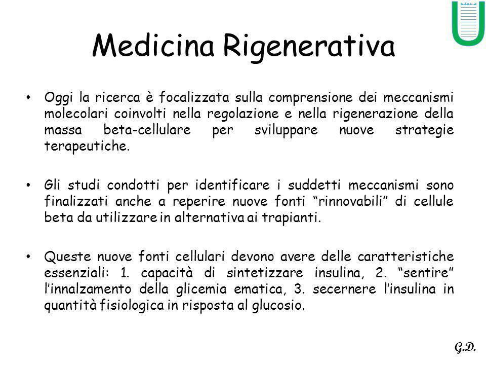Medicina Rigenerativa Oggi la ricerca è focalizzata sulla comprensione dei meccanismi molecolari coinvolti nella regolazione e nella rigenerazione del