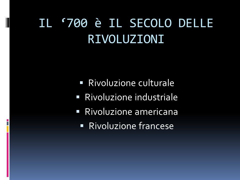 IL 700 è IL SECOLO DELLE RIVOLUZIONI Rivoluzione culturale Rivoluzione industriale Rivoluzione americana Rivoluzione francese