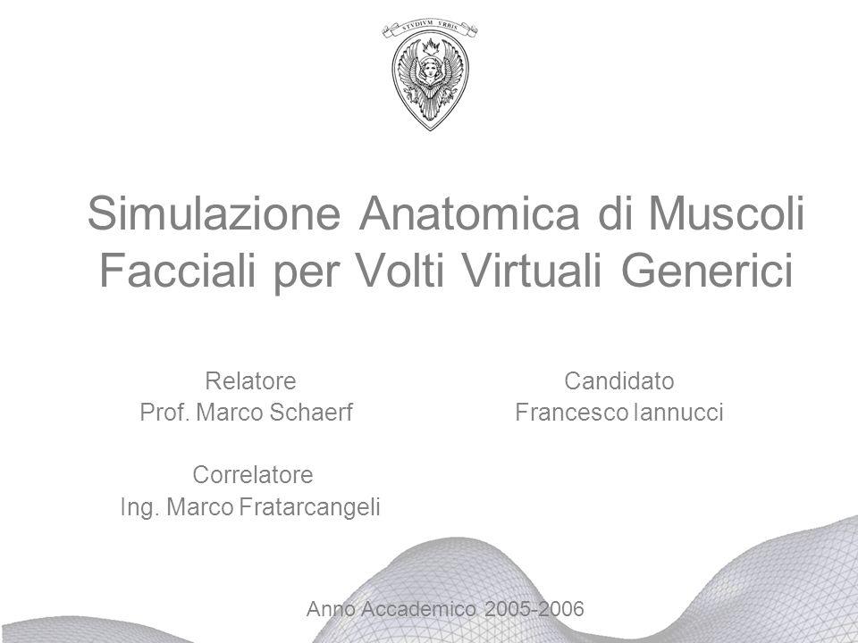Simulazione Anatomica di Muscoli Facciali per Volti Virtuali Generici Relatore Candidato Prof. Marco Schaerf Francesco Iannucci Correlatore Ing. Marco