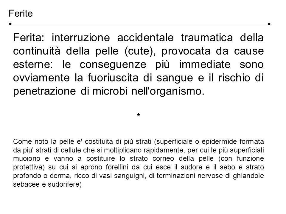 Ferite Ferita: interruzione accidentale traumatica della continuità della pelle (cute), provocata da cause esterne: le conseguenze più immediate sono