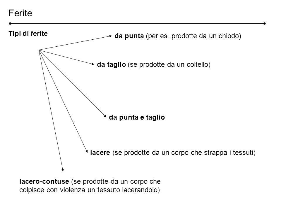 Ferite Tipi di ferite da punta (per es. prodotte da un chiodo) da taglio (se prodotte da un coltello) da punta e taglio lacere (se prodotte da un corp
