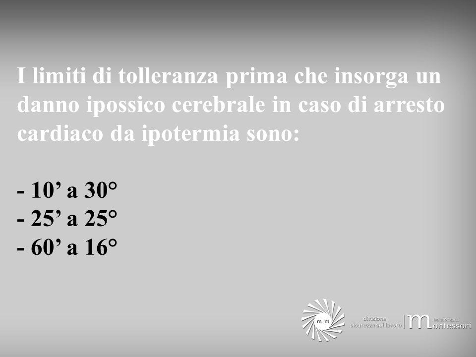 I limiti di tolleranza prima che insorga un danno ipossico cerebrale in caso di arresto cardiaco da ipotermia sono: - 10 a 30° - 25 a 25° - 60 a 16°