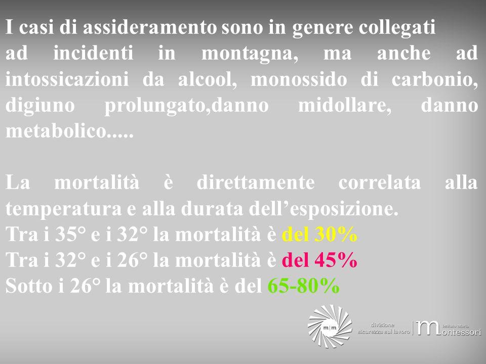 I casi di assideramento sono in genere collegati ad incidenti in montagna, ma anche ad intossicazioni da alcool, monossido di carbonio, digiuno prolun