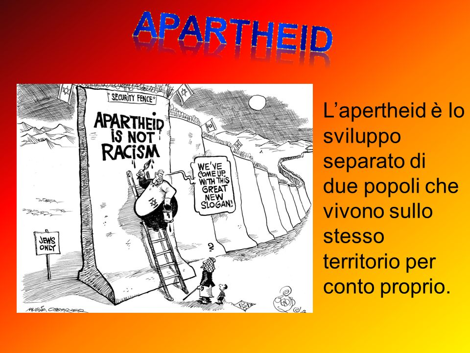 Lapertheid è lo sviluppo separato di due popoli che vivono sullo stesso territorio per conto proprio.