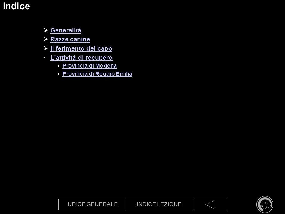 INDICE GENERALEINDICE LEZIONE Indice Generalità Razze canine Il ferimento del capo Lattività di recupero Provincia di Modena Provincia di Reggio Emili