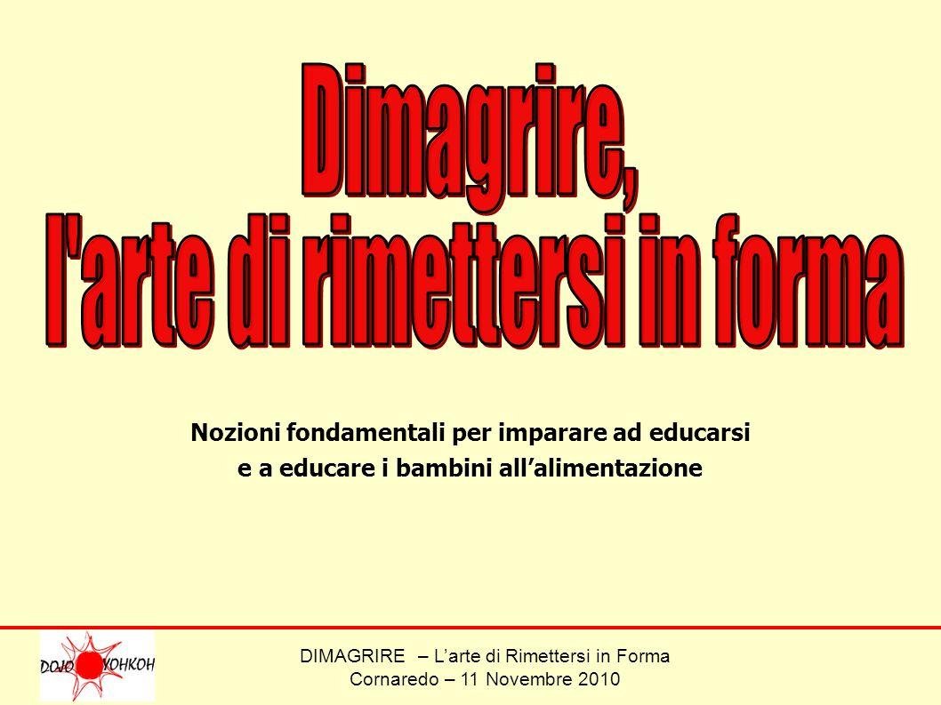 DIMAGRIRE – Larte di Rimettersi in Forma Cornaredo – 11 Novembre 2010 Nozioni fondamentali per imparare ad educarsi e a educare i bambini allalimentaz