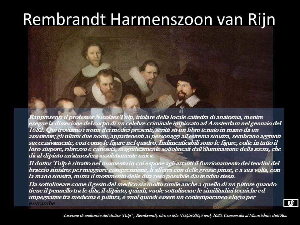 Rembrandt Harmenszoon van Rijn Lezione di anatomia del dottor Tulp, Rembrandt, olio su tela (169,5x216,5 cm), 1632. Conservata al Mauritshuis dell'Aia