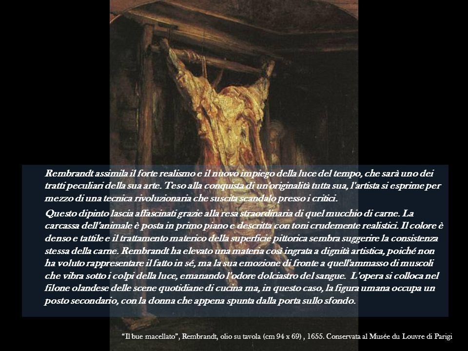 Rembrandt assimila il forte realismo e il nuovo impiego della luce del tempo, che sarà uno dei tratti peculiari della sua arte. Teso alla conquista di