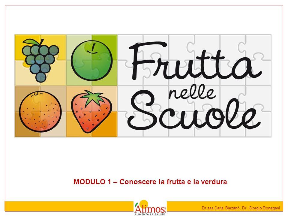 Dr.ssa Carla Barzanò, Dr. Giorgio Donegani MODULO 1 – Conoscere la frutta e la verdura